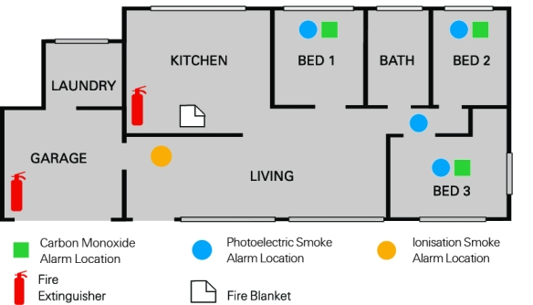 Exelgard fire safety floorplan - House